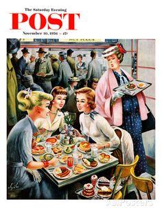 Cafeteria Dieter, art by Constantin Alajalov. Detail from cover of November 1956 Saturday Evening Post. Vintage Advertisements, Vintage Ads, Vintage Posters, Vintage Girls, Vintage Children, Vintage Pictures, Vintage Images, Vintage Housewife, Pin Up