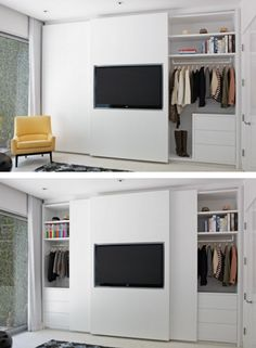 closet doors slide behind the TV