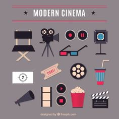 Wohnung modernes Kino Elemente Kostenlose Vektoren