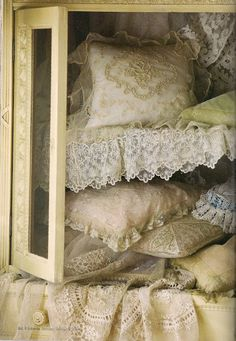linen cabinet full of vintage shabby chic pillows with lace Shabby Chic Vintage, Vintage Lace, Pearl And Lace, Linens And Lace, Antique Lace, Antiques, Lace Pillows, Vintage Pillows, French Pillows