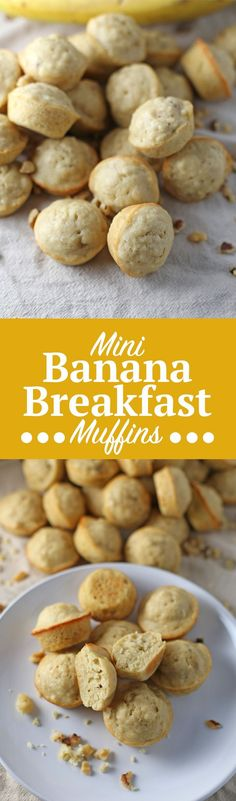 Mini Banana Breakfast Muffins. Super cute, quick and easy banana muffin recipe! These muffins are great for breakfast or as a snack and can be ready in no time. Grab the full recipe and link to your mini muffin tin by clicking through!   SeasonlyCreations.com   @SeasonlyBlog