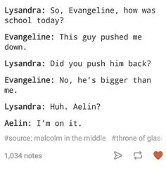 Lysandra So Evangeline How Was School Today? Evangeline This Guy Pushed Me Down Lysandra Did You Push Him Back? Evangeline No He's Bigger Than Me Lysandra Huh Aelin? Elin I'm on It Malcolm in the Middle of Glass 1034 Notes Throne Of Glass Fanart, Throne Of Glass Quotes, Throne Of Glass Books, Throne Of Glass Series, Celaena Sardothien, Aelin Ashryver Galathynius, Book Memes, Book Quotes, Rowan And Aelin