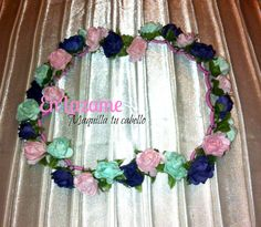 vincha de corona de colores: azul jean, rosa pastel y verde agua https://www.facebook.com/en.lazame.5