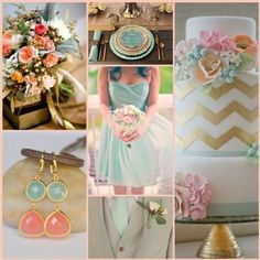 Gold, coral and mint:)......if I could ever do my wedding over this would be my color scheme!  Love that cake!!!