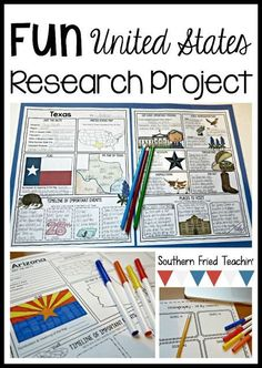 State Research Projects - Southern Fried Teachin' Do you have your students research about different Critical Thinking Activities, Social Studies Activities, Teaching Social Studies, Learning Activities, Hallway Displays, 5th Grade Social Studies, Homeschool Curriculum, Homeschooling, Project Based Learning