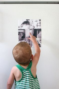 Magnetic photo puzzle.....great idea...u can get magnetic sheets at Michaels or hobby lobby to print on!