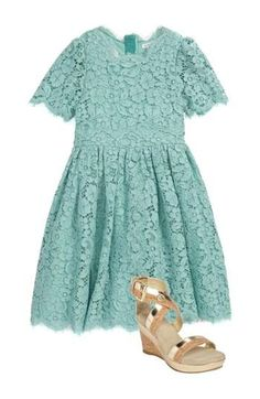 Little Designer Style: Dolce & Gabbana Lace Turquoise Dress