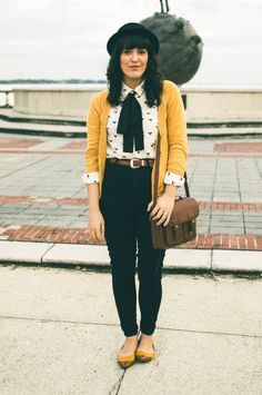 I like this mustard color and the fun top. Button downs are good for nursing as well.