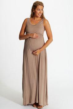 Mocha Basic Maternity Maxi pinkblushmaternity.com