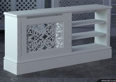 Jali bespoke radiator cover - something like this to cover radiator and accommodate TV - need to figure out how to aim heat aways from tv and electronics. Wall Heater Cover, Home Radiators, Made To Measure Furniture, Decoration Design, Interior Design Living Room, Home Projects, Home Furniture, New Homes, House Design