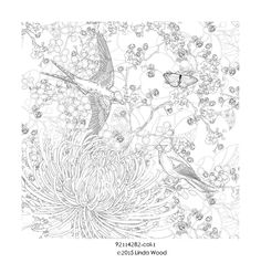 A Serene Meadow Scene From Colour Me Happy Zen Colouring Book Lacy Mucklow