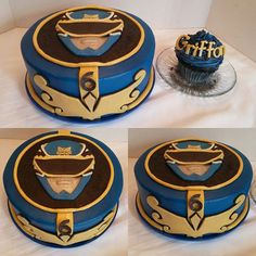 Griffon's Mighty Morphin' Power Rangers cake! A 10 inch round, blue power ranger cake and a jumbo cupcake just for the birthday boy! All edible, homemade buttercream and candy clay, no fondant! #cupcakes #candyclay #cakes #powerrangers #mightymorphinpowerrangers #blue #nofondant #angelascakes