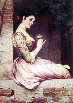 The Rose lady Eugene de Blaas art for sale at Toperfect gallery. Buy the The Rose lady Eugene de Blaas oil painting in Factory Price. Art And Illustration, Carl Spitzweg, Art Ancien, Italian Painters, Art Database, Oil Painting Reproductions, Classical Art, Jolie Photo, Beautiful Paintings