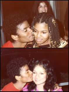 Big brother love!! Michael Jackson kissing sisters Janet & LaToya.
