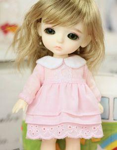 Lati Yellow Puki Fee AE Doll Outfit White Collar Pink Dress | eBay