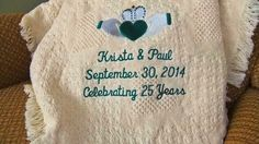 A wonderful way to celebrate a wedding anniversary.  More personalized wedding handkerchiefs and wedding blanket at http://www.lil-inspirations.com/.