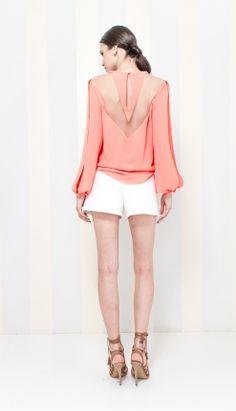 BLUSA CREPE CORAL DETALHE TULE ABERTURA MANGA - BL22519-68   Skazi e Skclub, Moda feminina, roupa casual, vestidos, saias, mulher moderna