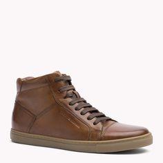 Tommy Hilfiger Leather Mid Cut Sneaker - winter cognac - Tommy Hilfiger Sneakers…