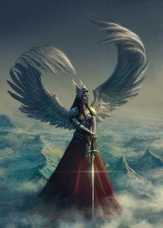 Valkyrie by edli - Female fantasy art. Angel, winged warrior. Swords.