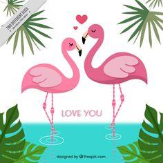 Fundo de flamingos no amor Vetor grátis