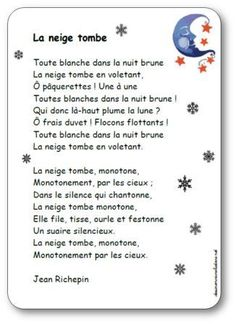Poésie La neige tombe Jean Richepin French Poems, French Class, Poetry, Blog, Author, Teaching, Activities, Education, School