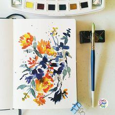 A break from doing the names. #calligrafikas #watercolor Paper: Monologue sketchbook 200gsm Paint: Van Gogh watercolors Brush: Pebeo round no 10
