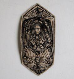 Splendour - an original embroidery artwork - folk art. 151.00 via Etsy.