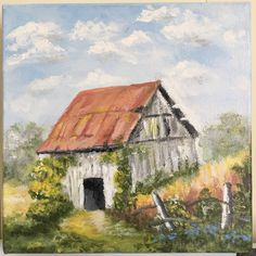 """Old Barn Covered In Vines. Acrylic On 6""""x6"""" 3D Stretched Canvas  