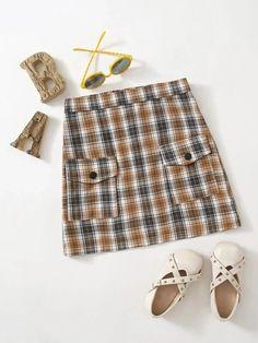 Girls Flap Pocket Tartan Skirt – Kidenhouse Leopard Print Skirt, Floral Print Skirt, Floral Prints, Ditsy Floral, Printed Skirts, No Frills, Tartan, Girl Skirts, Cute Outfits