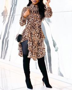 Shop Leopard Print Irregular Hem Casual Blouse right now, get great deals at Divasruby Long Sleeve Romper, Short Sleeve Dresses, Look Legging, Moda Afro, Looks Street Style, Pattern Fashion, Ruffles, Ideias Fashion, Fashion Dresses