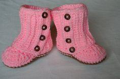 Crochet Boots, Crochet Girl Boots, Pink Valentine Boots, 18 -24 Month Boots, Wrap Around Pink Crochet Boots by FuzzyStitchesCrochet on Etsy
