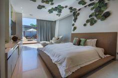 hojas decorativas en el dormitorio moderno