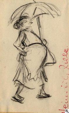 Heinrich Zille Frau mit Regenschirm Kohlezeichnung auf Papier. 16 x 10cm. Rote Stempelsignatur im rechten Randbereich: Heinrich Zille. Schätzpreis: € 1.000  Ergebnis: € 1.000