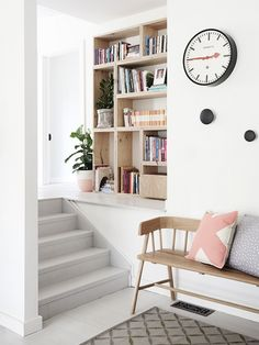 Best Scandinavian Home Design Ideas Stair Shelves, Bookshelves, Bookcase, Estilo Interior, Minimalist Office, Minimalist Style, Hallway Storage, Victorian Cottage, Scandinavian Home