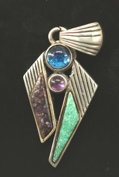 Modernist Abstract RELIOS CAROLYN POLLACK~ Multi Stone Sterling Pendant #CAROLYNPOLLACK