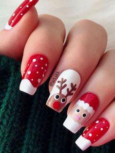 Chistmas Nails, Xmas Nail Art, Cute Christmas Nails, Xmas Nails, Christmas Nail Art Designs, Holiday Nails, Winter Christmas, Reindeer Christmas, Christmas Makeup