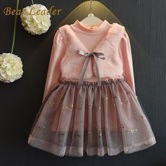 Bear Leader Grils Dress 2016 New Winter Dresses Children Clothing Princess Dress Pink Long Sleeve Wool Bow Design Girls  Clothes #>=#>=#>=#>=#> Click on the pin to check out discount price, color, size, shipping, etc. Save and like it!