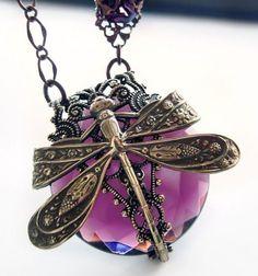 Dragonfly filigree necklace, La Belle Epoque jewellery statement necklace in amethyst purple. $133.00, via Etsy.