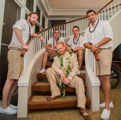 Kukui Nut Leis (on groomsmen) & Mailed Lei with White Orchid Wrap (on groom)
