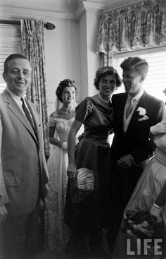 The wedding of Senator John Fitzgerald Kennedy of Massachusetts to Miss Jacqueline Lee Bouvier of Newport on September 12, 1953. The wedding was held in Newport RI at St. Mary's church, the reception subsequently held at the bride's stepfather's seaside home, Hammersmith Farm on.  Photo: Lisa Larsen for LIFE Magazine