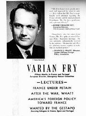 An advertisement for a series of lectures by Varian Fry, who worked in France to help anti-Nazi artists and intellectuals escape