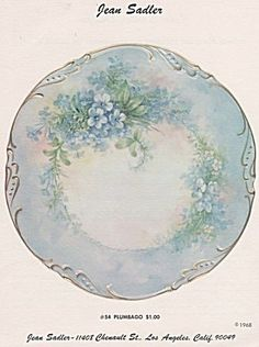 Jean Sadler - Plumbago Study 54 - 1968 - Oop Antique Plates, Vintage Plates, Antique China, Vintage China, Flower Aesthetic, Flower Plates, Color Studies, Hand Painted, Painted Porcelain