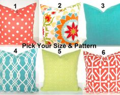 GET A WHOLE NEW LOOK JUST BY USING PILLOW COVERS! THE PILLOW COVERS CAN GO OVER A PILLOW INSERT OR YOUR EXISTING PILLOWS!  Add a FRESH NEW DESIGNER LOOK to any room with this pillow cover made for any size of pillow. It features gorgeous mixed patterns in an array of Turquoise, Navy Blue, Cobalt Blue, and Silvery blue on a soft white background. It is made up of 100% decorator weight Indoor Outdoor fabric. It is stain, water and Sun resistant perfect for those sun porches. * * * THIS LISTING…