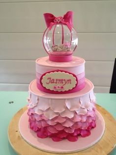 So sweet, plus i love the bottom part, so beautiful....Jasmyn's Christening cake By cags31 on CakeCentral.com