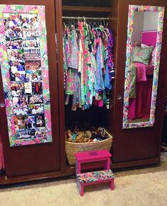 My Lilly Pulitzer room, flip flop basket, step stool, lilly covered mirrors, lilly bedspread