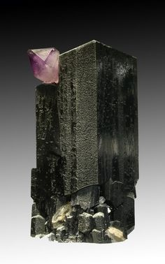 Quartz var.Amethyst on Schorl - Erongo Mountain, Usakas & Omaruru dist., Namibia Size: 5.0 x 9.0 cm