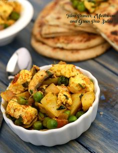 Tava Paneer, Mushroom and Green Pea Subzi is made with ingredients ranging from paneer and mushrooms to green peas and potatoes.The chaat masala and kasuri methi add a unique aroma and flavour of this subzi.