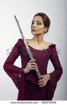 beautiful woman with flute