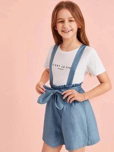 Girls Paperbag Waist Denim Pinafore Shorts – Kidenhouse Teenage Girl Outfits, Dresses Kids Girl, Little Girl Outfits, Kids Outfits Girls, Cute Girl Outfits, Girls Fashion Clothes, Tween Fashion, Cute Outfits For Kids, Teen Fashion Outfits