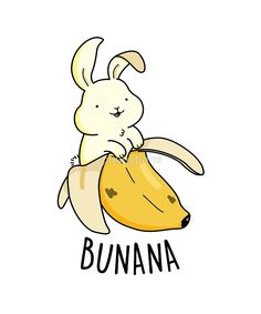 'Bunana Fruit Food Pun' by punnybone - Clou,clouer Funny Food Puns, Punny Puns, Cute Puns, Cute Food Drawings, Cute Kawaii Drawings, Cartoon Drawings, Funny Doodles, Cute Doodles, Animal Puns